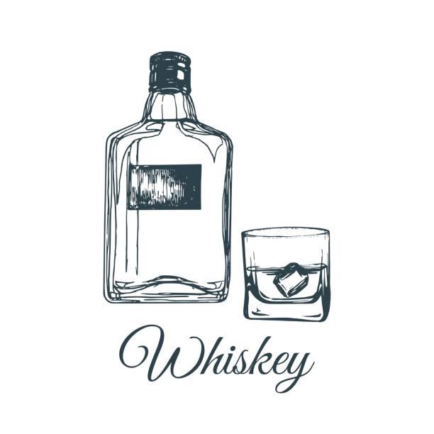 Hand sketched whiskey bottle and glass. Vector illustration of scotch set. Vintage alcoholic drink menu design concept for bar, restaurant etc. vector art illustration