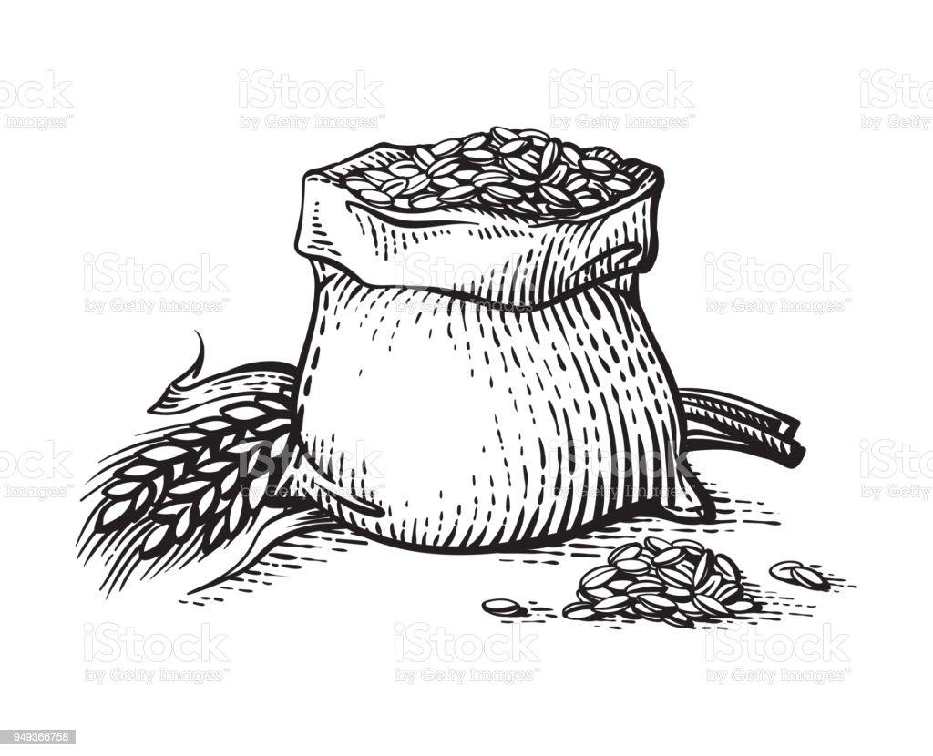 El Taslağı çanta Dolusu Buğday Unu Ve Tahıl Beyaz Arka Plan üzerinde