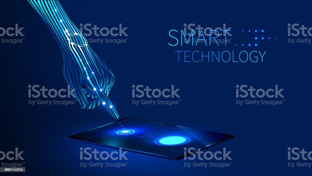 tecnología inteligente de mano - ilustración de arte vectorial