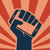 istock Hand smartphone icon digital revolution 1134454383