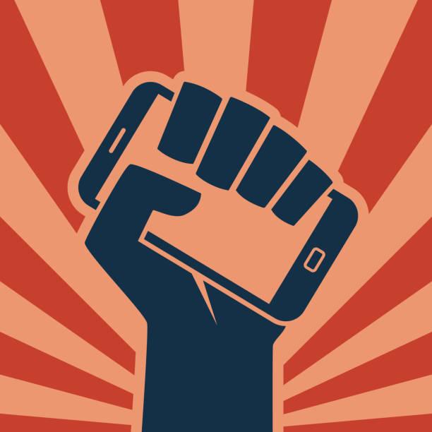 手動智慧手機圖示數位革命 - 政治 幅插畫檔、美工圖案、卡通及圖標