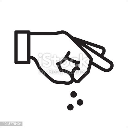 Hand Sprinkling Something — Professional outline black and white vector icon. Pixel Perfect Principle - icon designed in 64x64 pixel grid, outline stroke 2 px.  Complete Outline BW board — https://www.istockphoto.com/collaboration/boards/74OULCFeYkmRh_V_l8wKCg