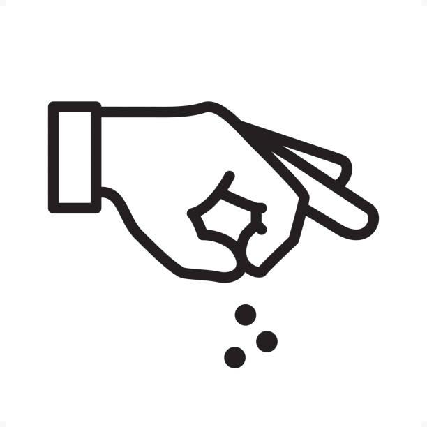 Hand Sprinkling - Outline Icon - Pixel Perfect Hand Sprinkling Something — Professional outline black and white vector icon. Pixel Perfect Principle - icon designed in 64x64 pixel grid, outline stroke 2 px.  Complete Outline BW board — https://www.istockphoto.com/collaboration/boards/74OULCFeYkmRh_V_l8wKCg salt stock illustrations
