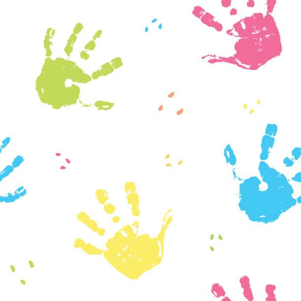 stockillustraties, clipart, cartoons en iconen met hand stempel naadloze patroon, verf vlek achtergrond vector illustratie - baby dirty