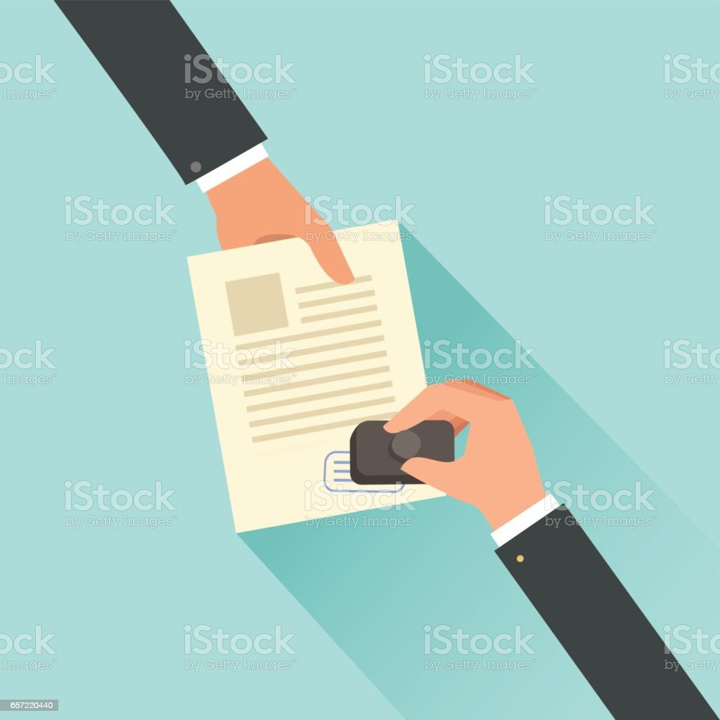 Hand stamping. Notary approving a documents - illustrazione arte vettoriale
