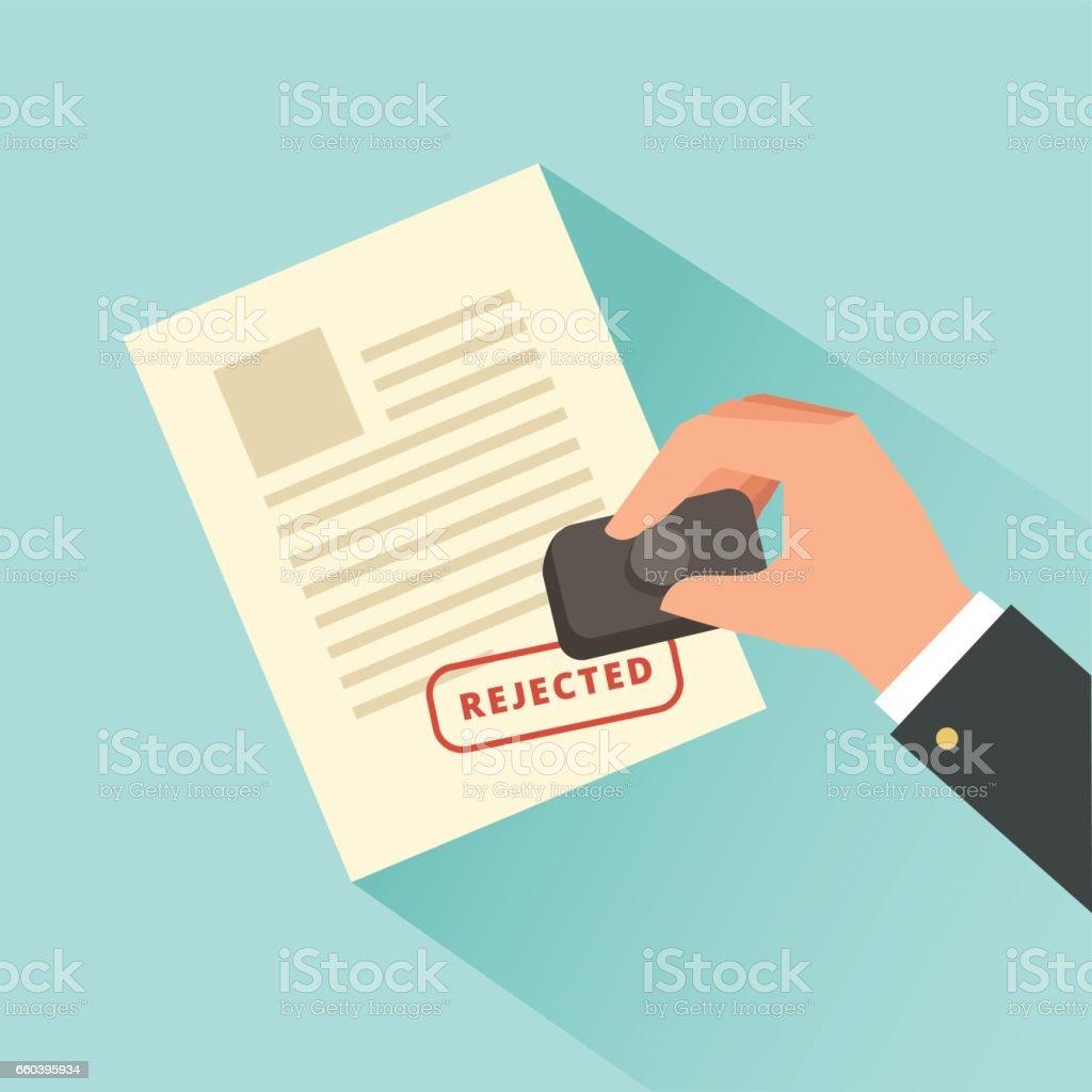 Sellos de mano papel documento con sello de rechazado. - ilustración de arte vectorial
