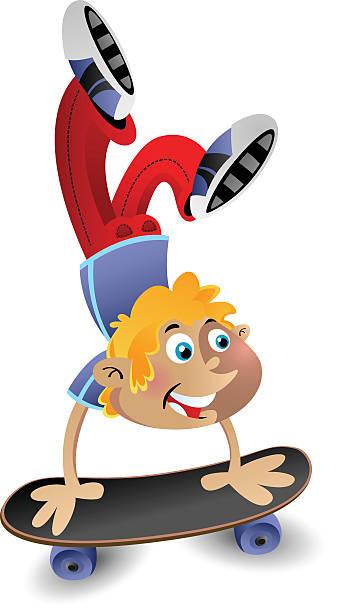 Hand Stand on a Skateboard vector art illustration