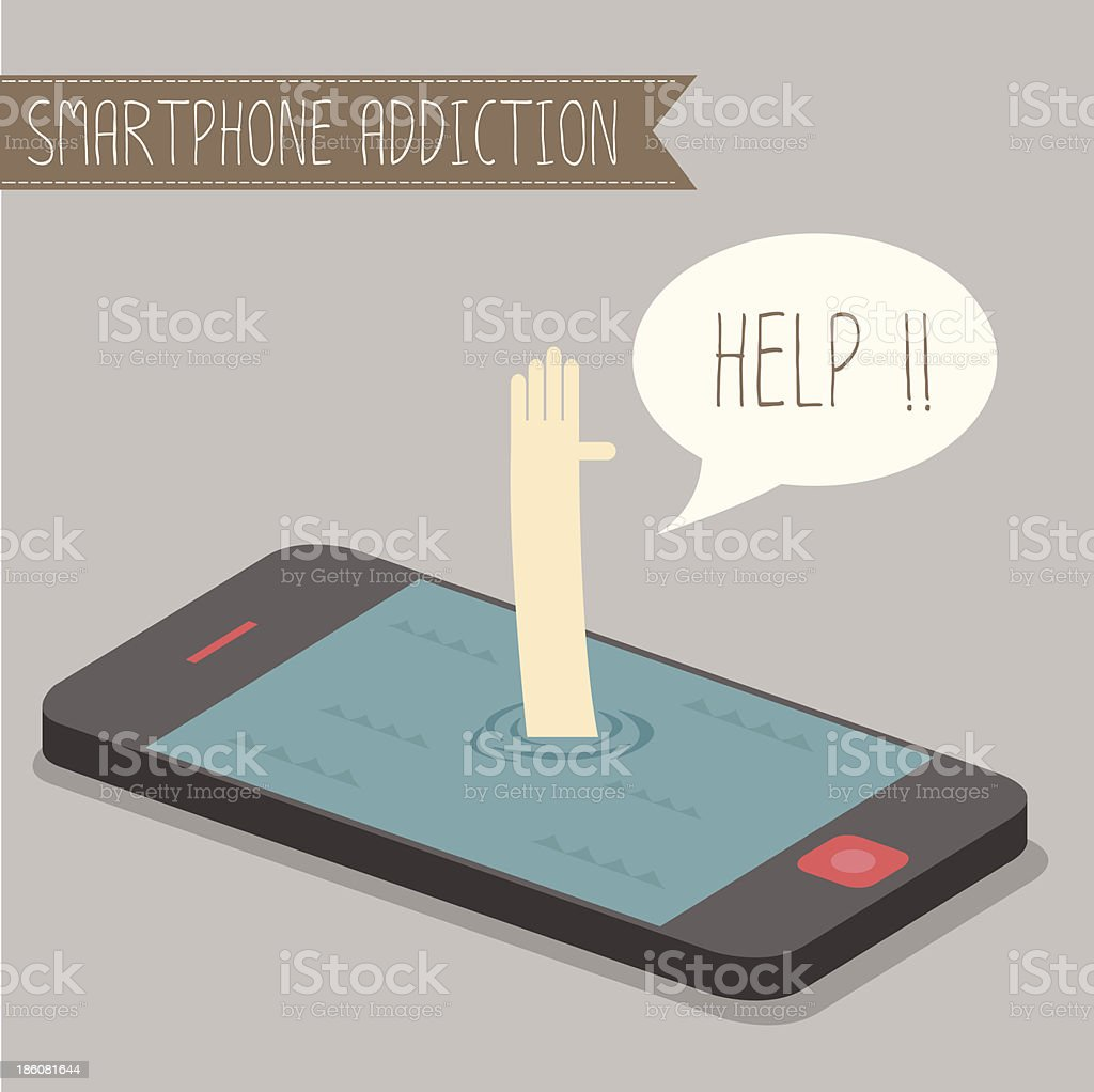 Hand sunken into smartphone reaching out for help vector art illustration