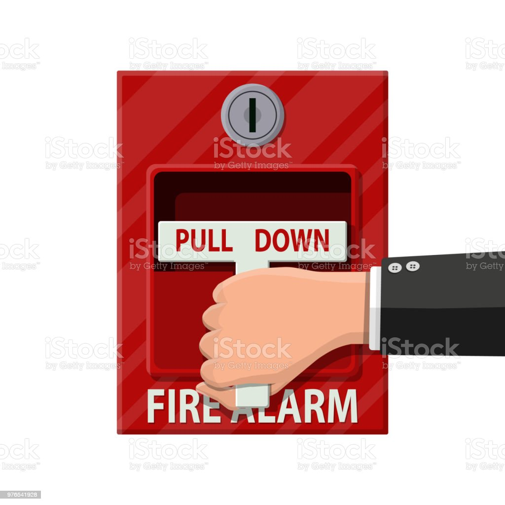 Hand switch fire alarm system. Fire equipment. vector art illustration