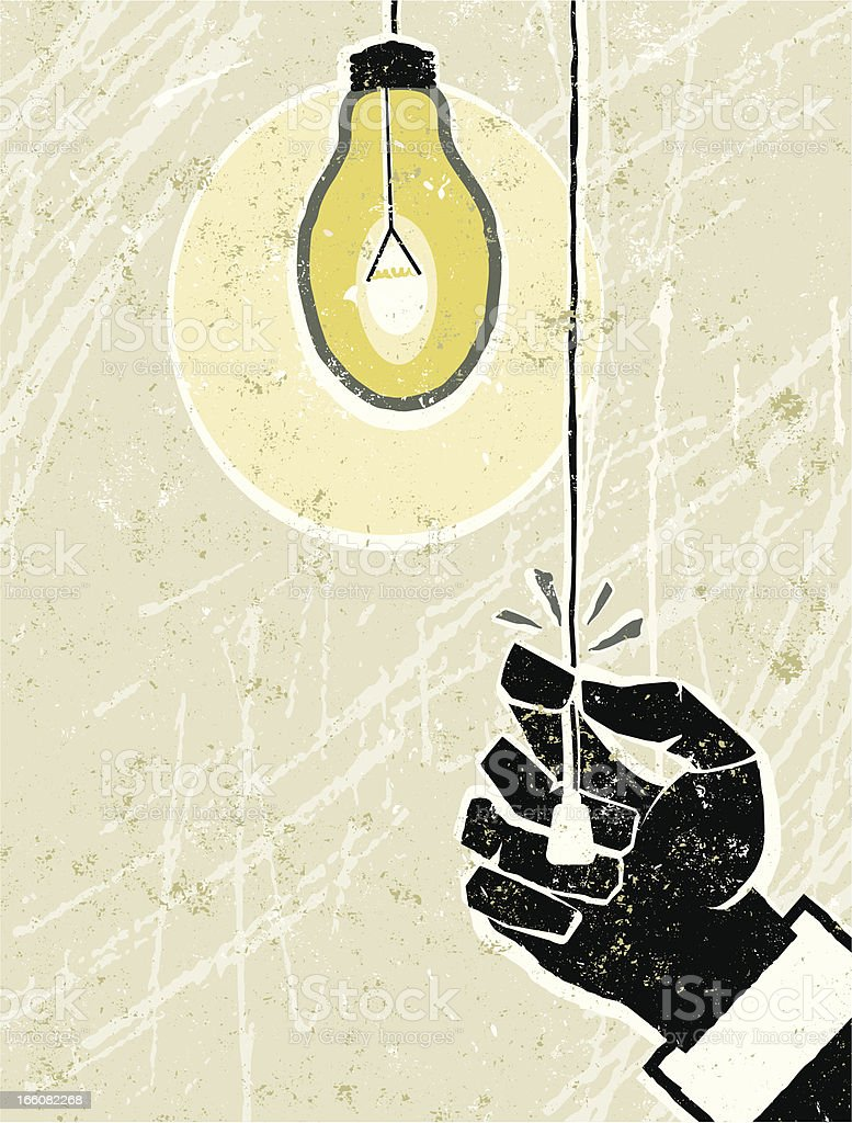Hand Switching on a Light Bulb vector art illustration
