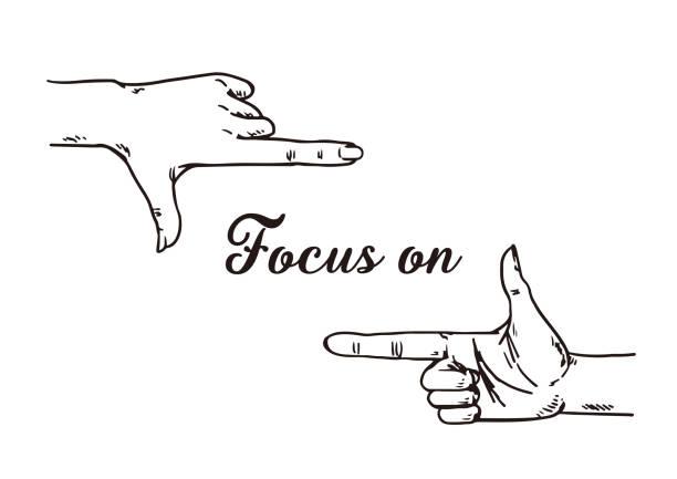 흰색 배경에 프레임을 의미 하는 손 기호입니다. - 사진 촬영 이미지 캡처 stock illustrations