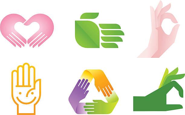 bildbanksillustrationer, clip art samt tecknat material och ikoner med hand symbol - recycling heart