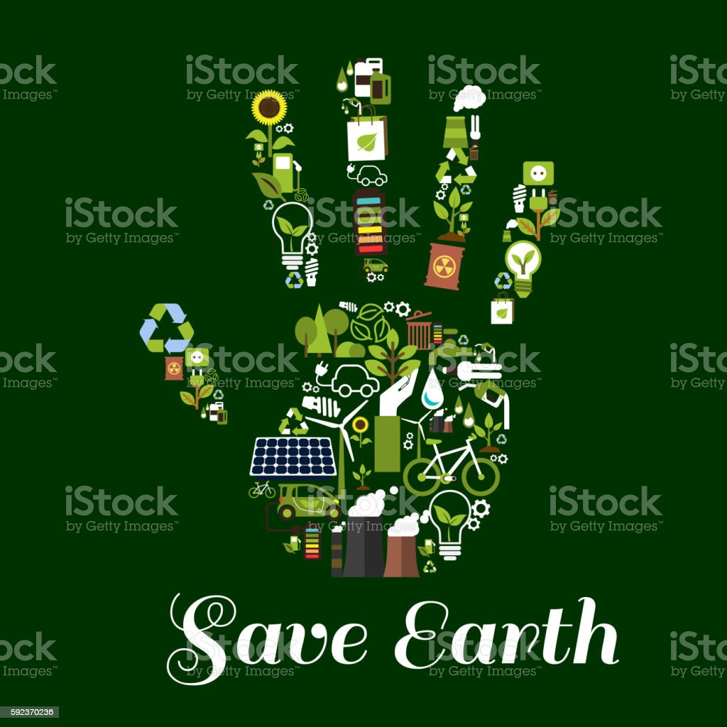 Hand symbol with ecological energy flat icons - Illustration vectorielle