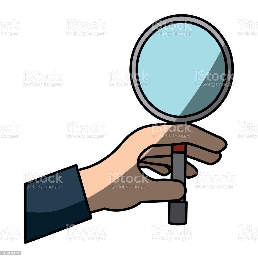 hand taking magnifying glass vector art illustration