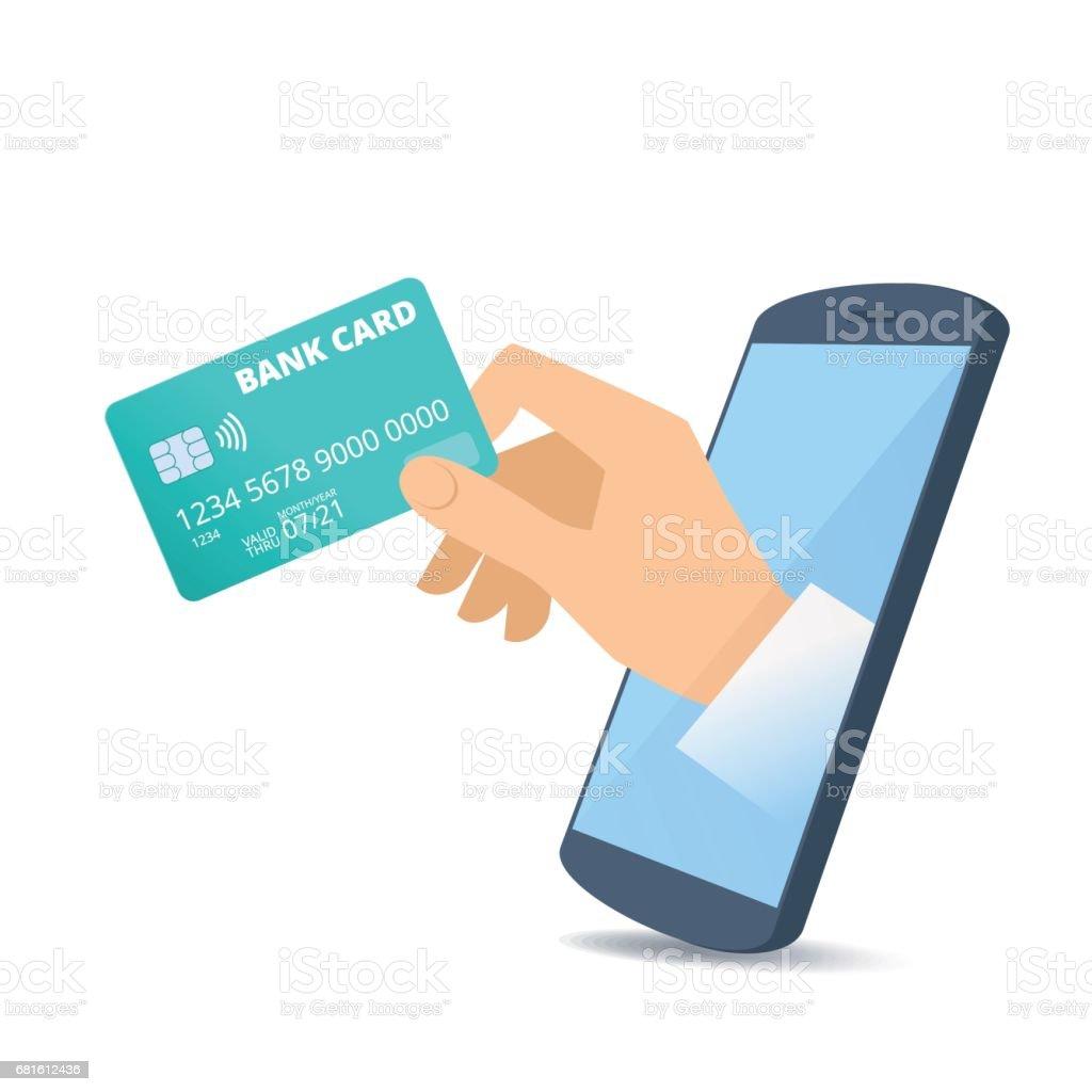Carte Bancaire Sur Telephone.Un Coup De Main A Travers Lecran Du Telephone Est Titulaire Dune