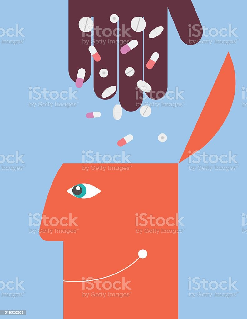 Hand throw medicines to the human head. Substance abuse vector art illustration