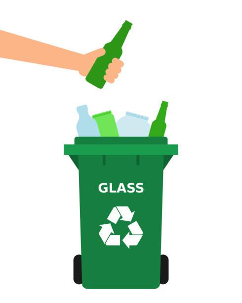 hand wirft eine grüne glasflasche in einen papierkorb. - altglas stock-grafiken, -clipart, -cartoons und -symbole