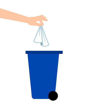 Hand throwing away tissue into a trash bin. Coronavirus prevention.