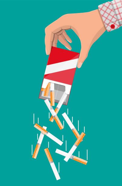 Hand wirft Zigaretten aus der Packung. – Vektorgrafik