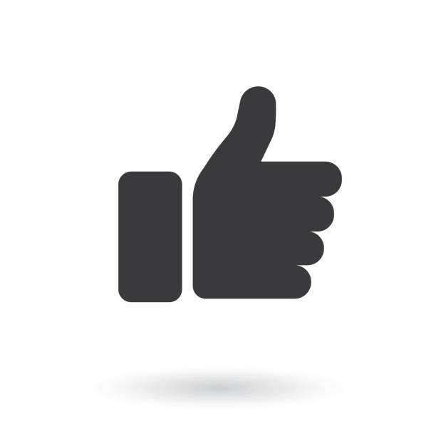 hand thumb up icon. flat style - stock vector. - kciuk stock illustrations