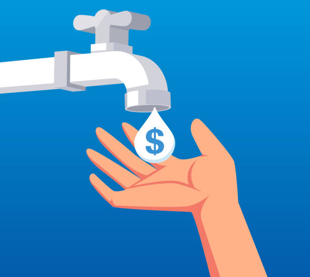 Hand to catch the money flowing from the taps inside Hand to catch the money flowing from the taps inside water wastage stock illustrations