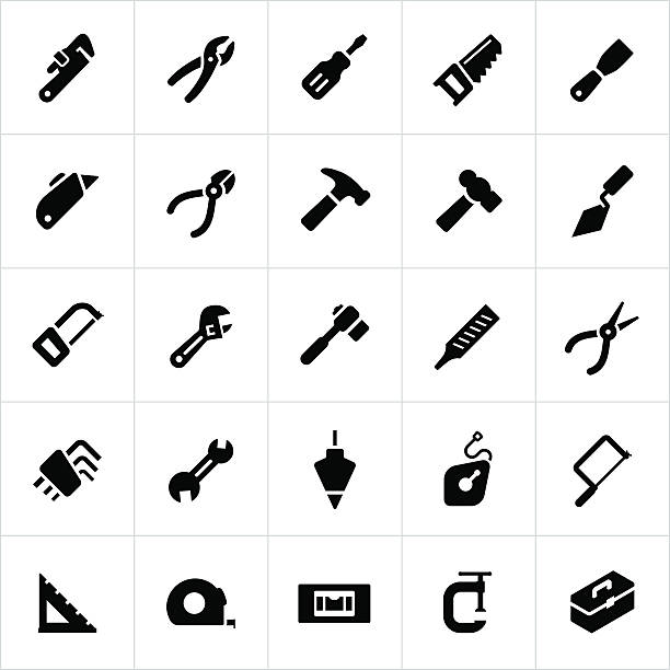 Hand Tool Icons Icons representing several hand tools for building and construction. The vector icons include common tools of a hammer, screwdriver, pliers, wrenches, saws, tape measure, toolbox and more. utility knife stock illustrations