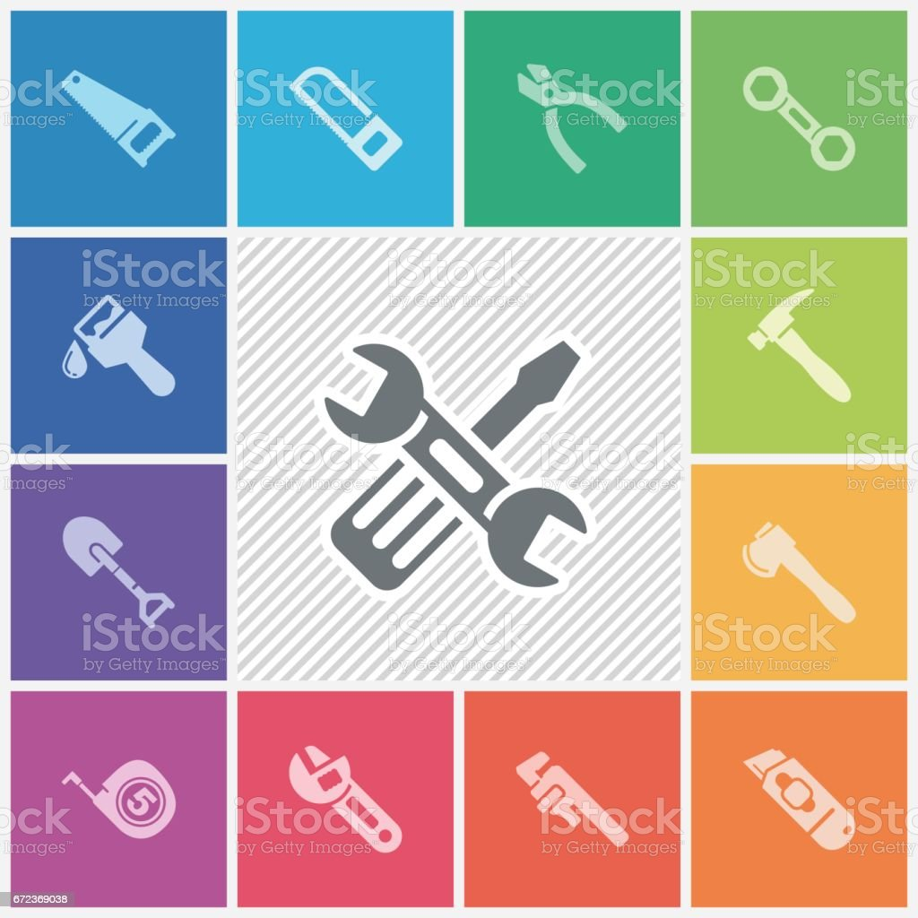 Hand tool icons vector art illustration