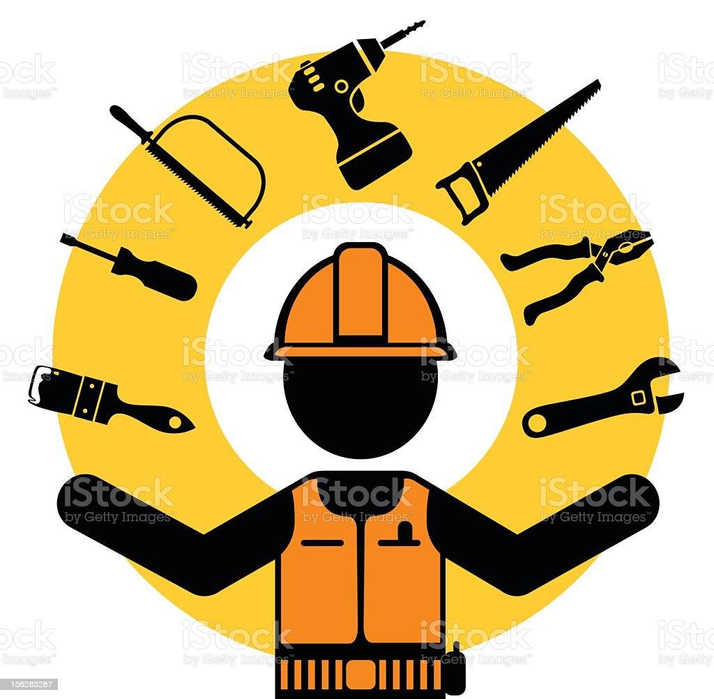 hand tools and worker royalty-free stock vector art