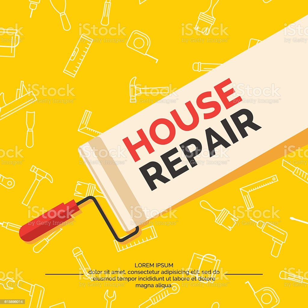 Hand tools for home renovation and construction. vector art illustration