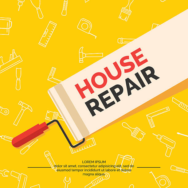 Hand tools for home renovation and construction. Hand tools for home renovation and construction. Tools in a bright, flat style. A colorful poster, vector illustration. Roller, brush, paint, building level. diy stock illustrations