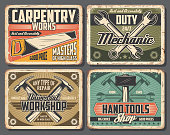 Repair work tools rusty metal boards with vector hammers, spanners and wrenches, saw, screws and fasteners. Car service, carpenter workshop and mechanic garage design