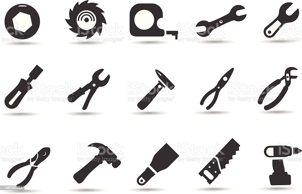 Hand Tools Icon Set royalty-free hand tools icon set stock vector art & more images of adjustable wrench