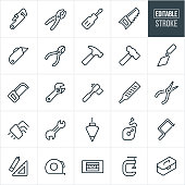 A set of hand tool icons that include editable strokes or outlines using the EPS vector file. The icons include a pipe wrench, pliers, screwdriver, wood saw, box cutter, wire cutters, hammer, ball-peen hammer, cement trowel, hack saw, crescent wrench, socket wrench, file, needle nose pliers, hex wrench, end wrench, chalk line, coping saw, square, tape measure, level, c-clamp and toolbox.