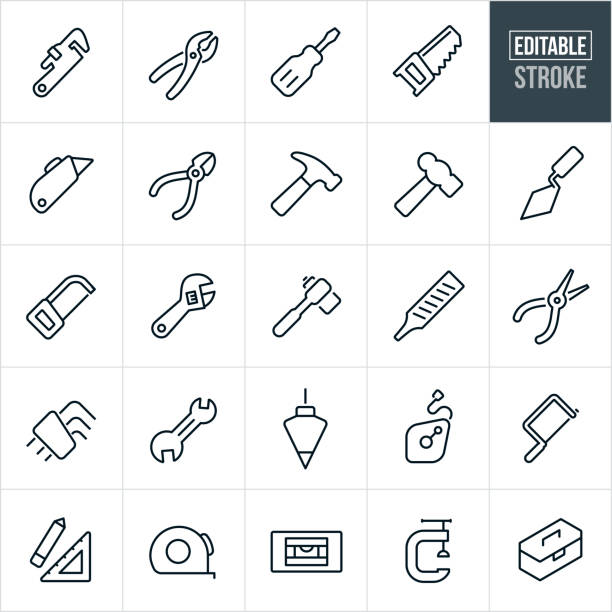 hand tools thin line icons - editable stroke - tools stock illustrations