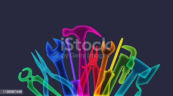 Colorful overlapping x-ray silhouettes of DIY hand tools