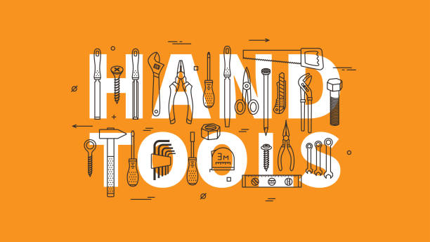 Hand tools vector illustration Hand tools vector illustration. Instruments for renovation and working line art concept. Hand tools for construction and repair linear (outline) graphic design. diy stock illustrations