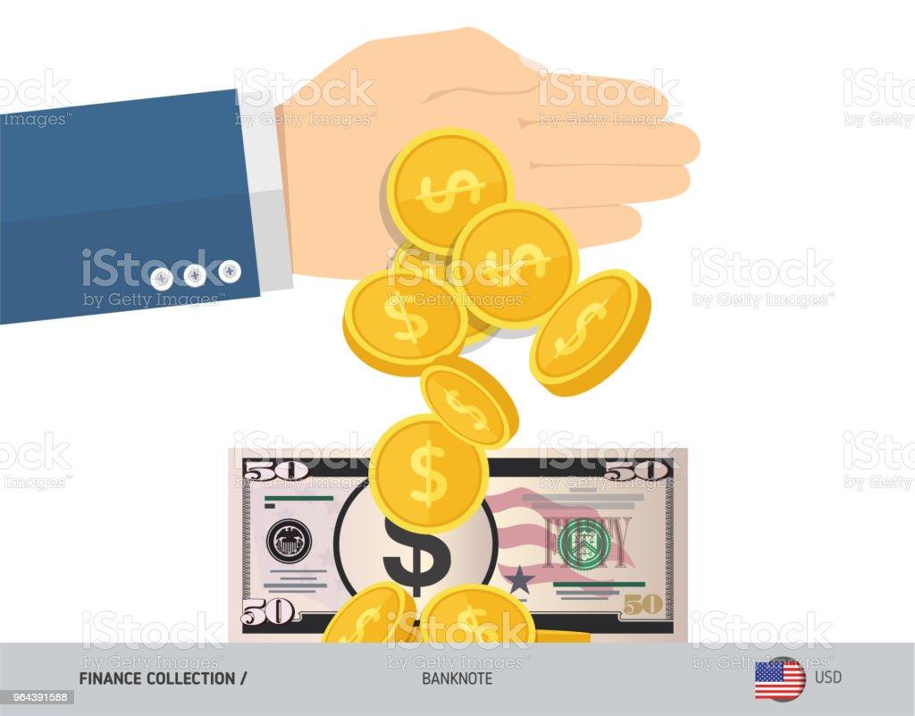 Mão joga moedas perto de 50 nós, notas de dólar. Ilustração do vetor de estilo simples. Conceito de finanças. - Vetor de Abstrato royalty-free
