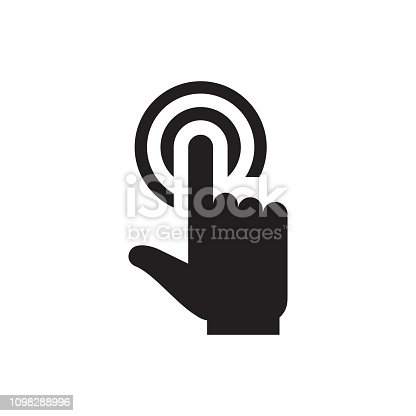 Hand touch - black icon on white background vector illustration for website, mobile application, presentation, infographic. Pointer click concept sign. Graphic design element.