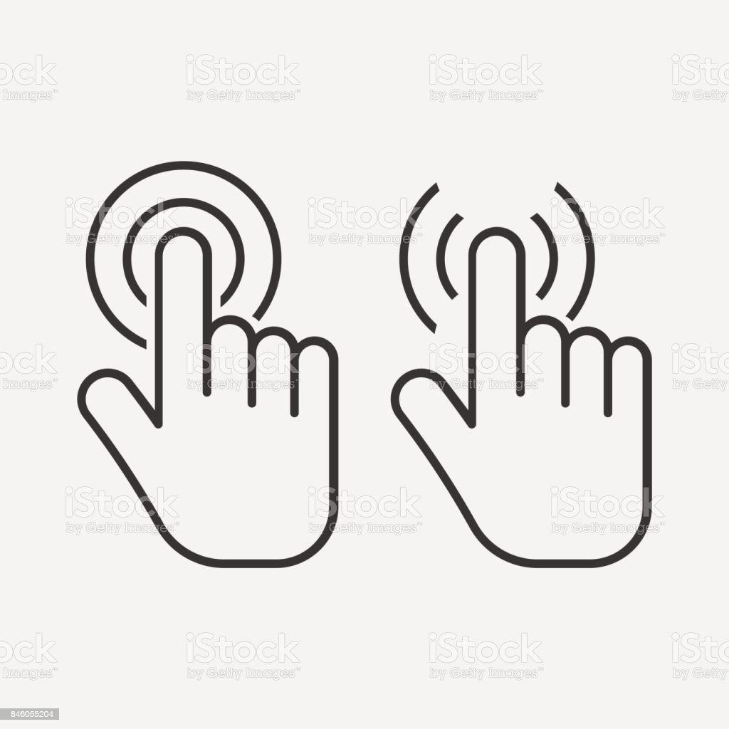 Icono de toque de mano. Haga clic en el icono. aislado sobre fondo. Ilustración de vector. - ilustración de arte vectorial