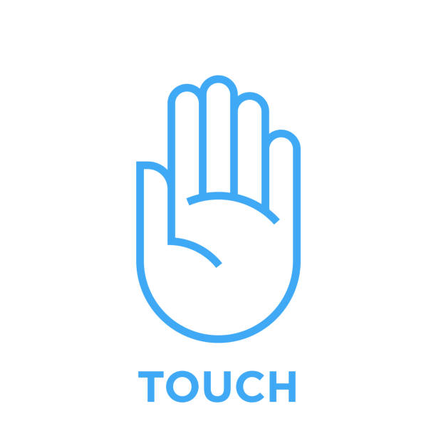 Hand touch icon Hand icon. Touch symbol. Human palm sign. Blue vector graphic line style illustration isolated on white background. stop stock illustrations