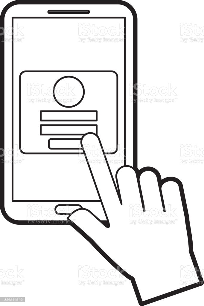 hand touch mobile phone webpage login security vector art illustration