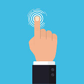Hand touch screen, Press the button, Flat style. vector