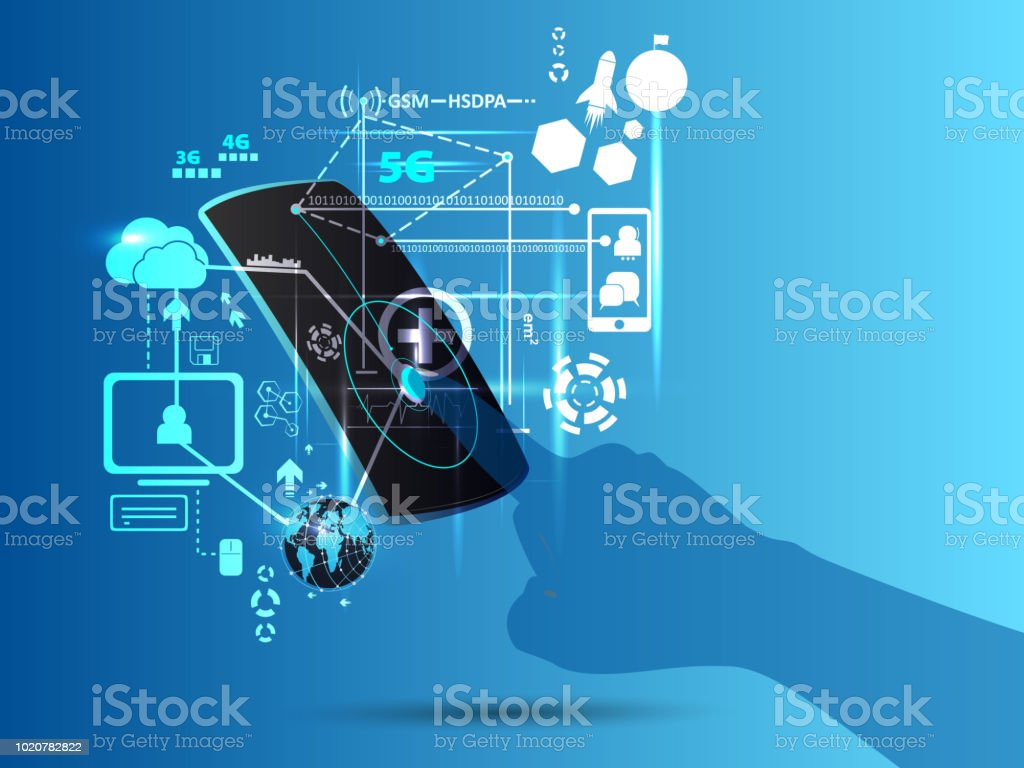 hand touch screen smartphone technology connection speed futuristic concept. illustration vector. vector art illustration