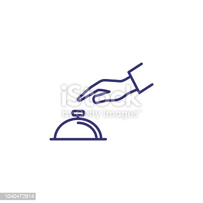 Hand touching bell service line icon. Reception, hotel, guest. Restaurant concept. Vector illustration can be used for topics like service, help, travel