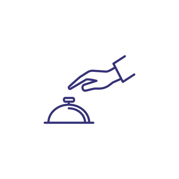 Hand touching bell service line icon Hand touching bell service line icon. Reception, hotel, guest. Restaurant concept. Vector illustration can be used for topics like service, help, travel ordering stock illustrations