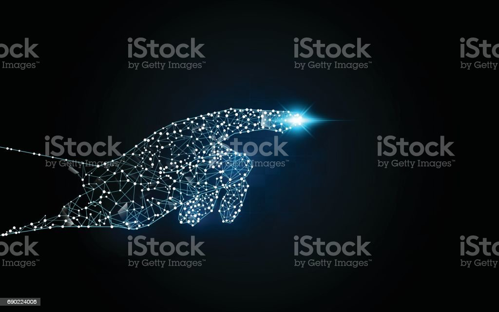 hand touching digital sci fi hi tech innovation concept background vector art illustration
