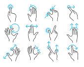 Hand touchscreen gestures