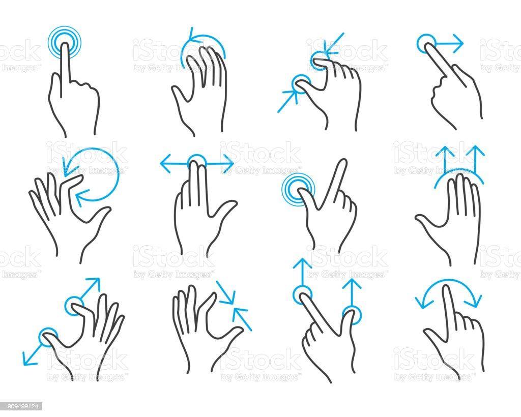 Gestos de mano con pantalla táctil - ilustración de arte vectorial