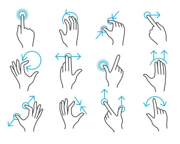 hand touchscreen gestures - dotykać stock illustrations