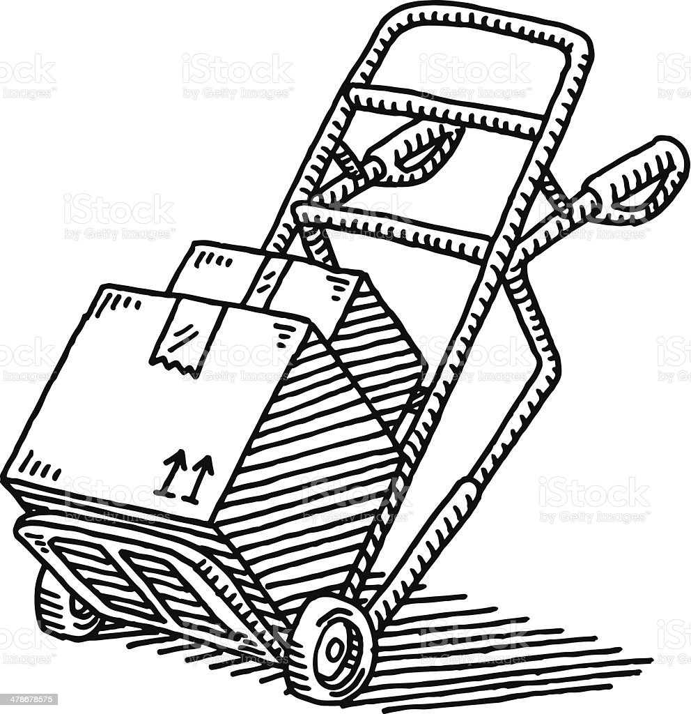 hand truck parcel delivery drawing stock vector art 478678575 istock